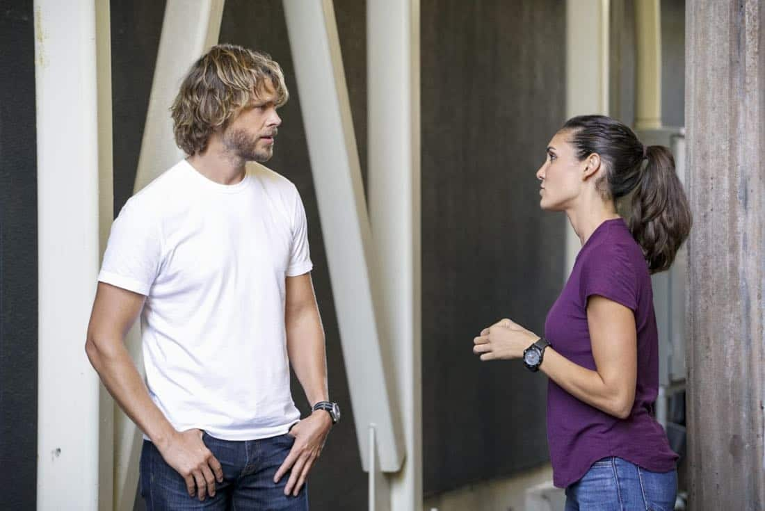 """""""Assets"""" -- Pictured: Eric Christian Olsen (LAPD Liaison Marty Deeks) and Daniela Ruah (Special Agent Kensi Blye). During the murder investigation of a Navy Lieutenant on leave in Los Angeles, the NCIS team uncovers classified surveillance briefs she smuggled into the city that may have been sold to a foreign buyer, on NCIS: LOS ANGELES, Sunday, Oct. 8 (9:00-10:00 PM, ET/PT) on the CBS Television Network. Photo: Bill Inoshita/CBS ©2017 CBS Broadcasting, Inc. All Rights Reserved."""