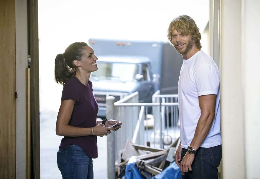 """""""Assets"""" -- Pictured: Daniela Ruah (Special Agent Kensi Blye) and Eric Christian Olsen (LAPD Liaison Marty Deeks). During the murder investigation of a Navy Lieutenant on leave in Los Angeles, the NCIS team uncovers classified surveillance briefs she smuggled into the city that may have been sold to a foreign buyer, on NCIS: LOS ANGELES, Sunday, Oct. 8 (9:00-10:00 PM, ET/PT) on the CBS Television Network. Photo: Bill Inoshita/CBS ©2017 CBS Broadcasting, Inc. All Rights Reserved."""