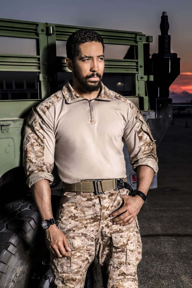 Neil Brown Jr.of the CBS series SEAL TEAM. Photo: Cliff Lipson/CBS ©2017 CBS Broadcasting, Inc. All Rights Reserved