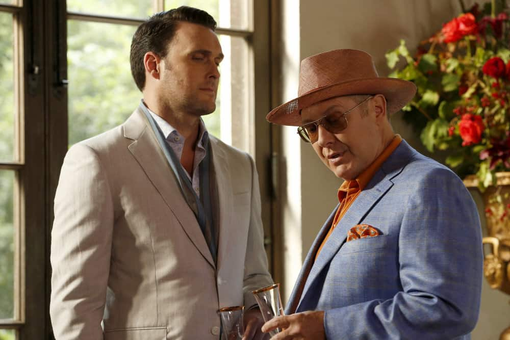 "THE BLACKLIST -- ""Greyson Blaise"" Episode 502 -- Pictured: (l-r) Owain Yeoman as Greyson Blaise, James Spader as Raymond ""Red"" Reddington -- (Photo by: Will Hart/NBC)"