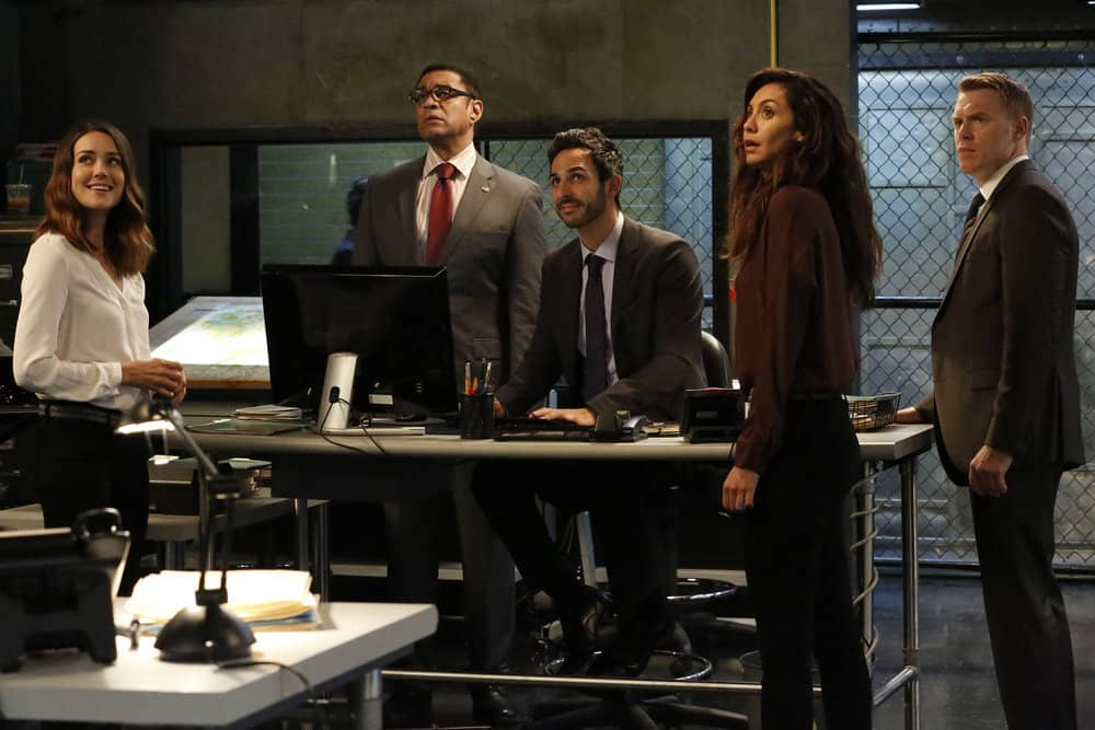 "THE BLACKLIST -- ""Greyson Blaise"" Episode 502 -- Pictured: (l-r) Megan Boone as Elizabeth Keen, Harry Lennix as Harold Cooper, Amir Arison as Aram Mojitabai, Mozhan Marnò as Samar Navabi, Diego Klattenhoff as Donald Ressler -- (Photo by: Will Hart/NBC)"