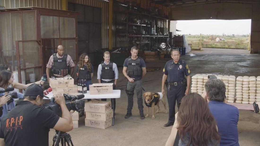"Hawaii Five 0 Chi McBride as Lou Grover, Meaghan Rath as Tani Rey, Scott Caan as Danny ""Danno"" Williams, Alex O'Loughlin as Steve McGarrett, and Dennis Chun as Sgt. Duke Lukela"