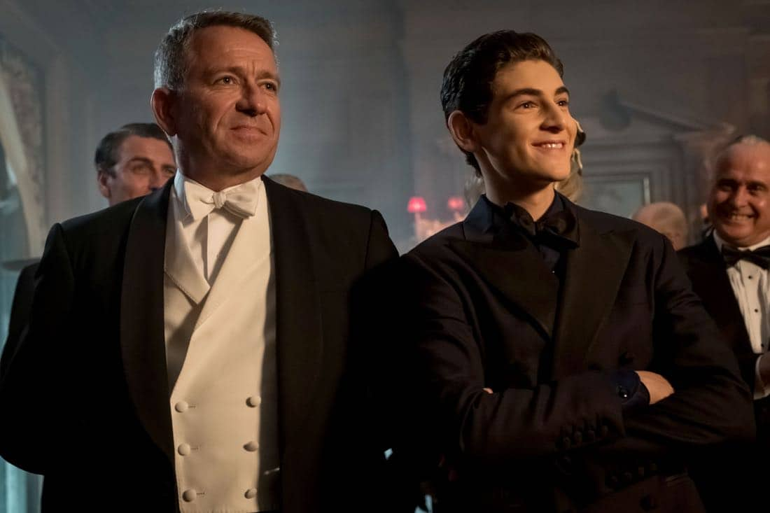 "GOTHAM: L-R: Sean Pertwee and David Mazouz in ""A Dark Knight: They Who Hide Behind Masks"""