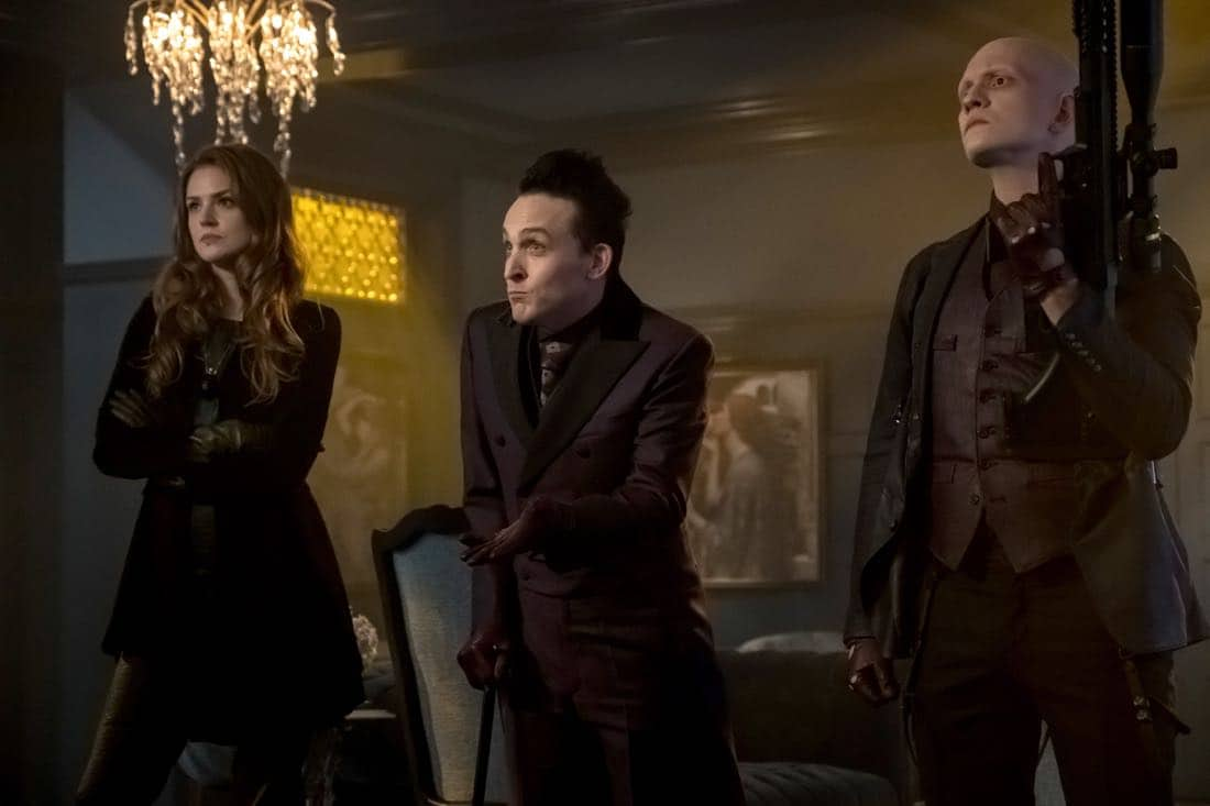 """GOTHAM: L-R: Maggie Geha, Robin Lord Taylor and Anthony Carrigan in """"The Fear Reaper"""""""