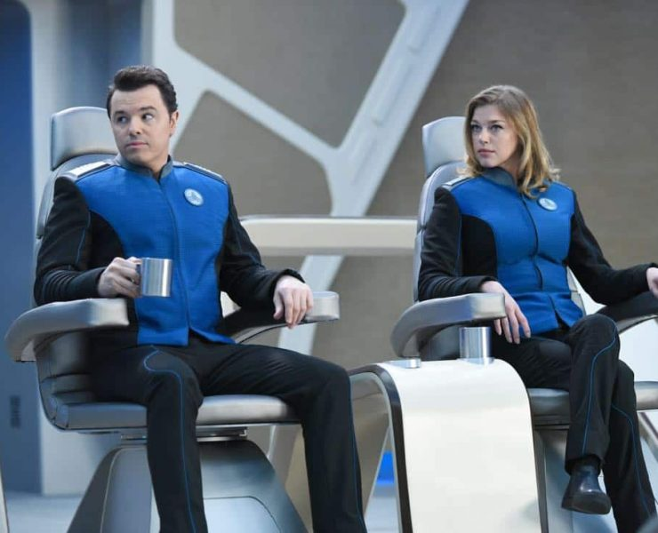 """THE ORVILLE: L-R: Seth MacFarlane and Adrianne Palicki in the """"If the Stars Should Appear"""""""