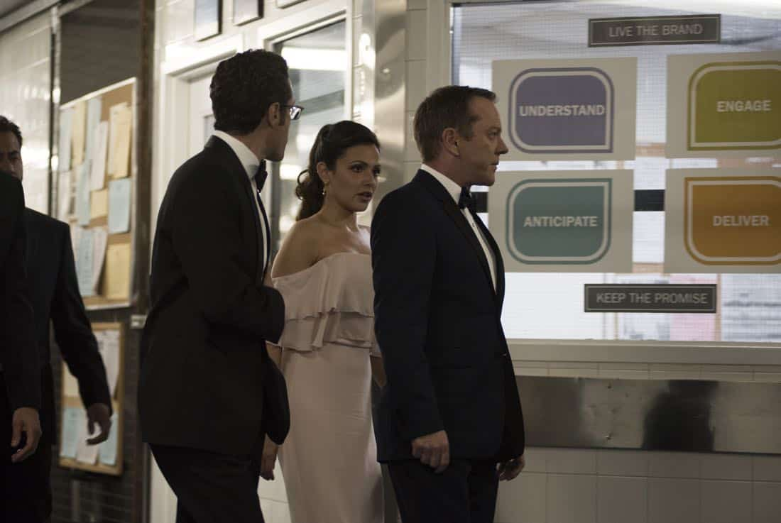 """DESIGNATED SURVIVOR - """"Sting of the Tail"""" - FBI Agent Hannah Wells finally closes in on Patrick Lloyd, but when the president decides to take action during the White House Correspondents Dinner, members of the Homeland Security Council threaten to derail their plans, on """"Designated Survivor,"""" airing WEDNESDAY, OCTOBER 4 (10:00-11:00 p.m. EDT). (ABC/John Medland) PAULO COSTANZO, ITALIA RICCI, KIEFER SUTHERLAND"""