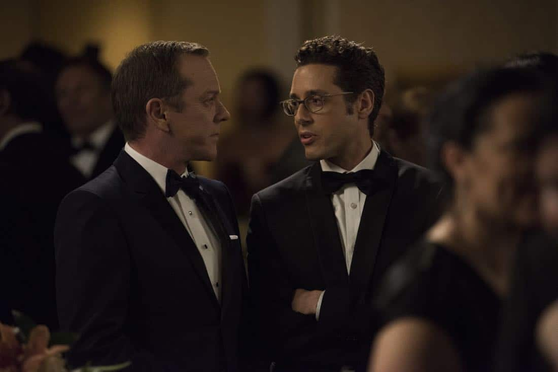 """DESIGNATED SURVIVOR - """"Sting of the Tail"""" - FBI Agent Hannah Wells finally closes in on Patrick Lloyd, but when the president decides to take action during the White House Correspondents Dinner, members of the Homeland Security Council threaten to derail their plans, on """"Designated Survivor,"""" airing WEDNESDAY, OCTOBER 4 (10:00-11:00 p.m. EDT). (ABC/John Medland) KIEFER SUTHERLAND, PAULO COSTANZO"""