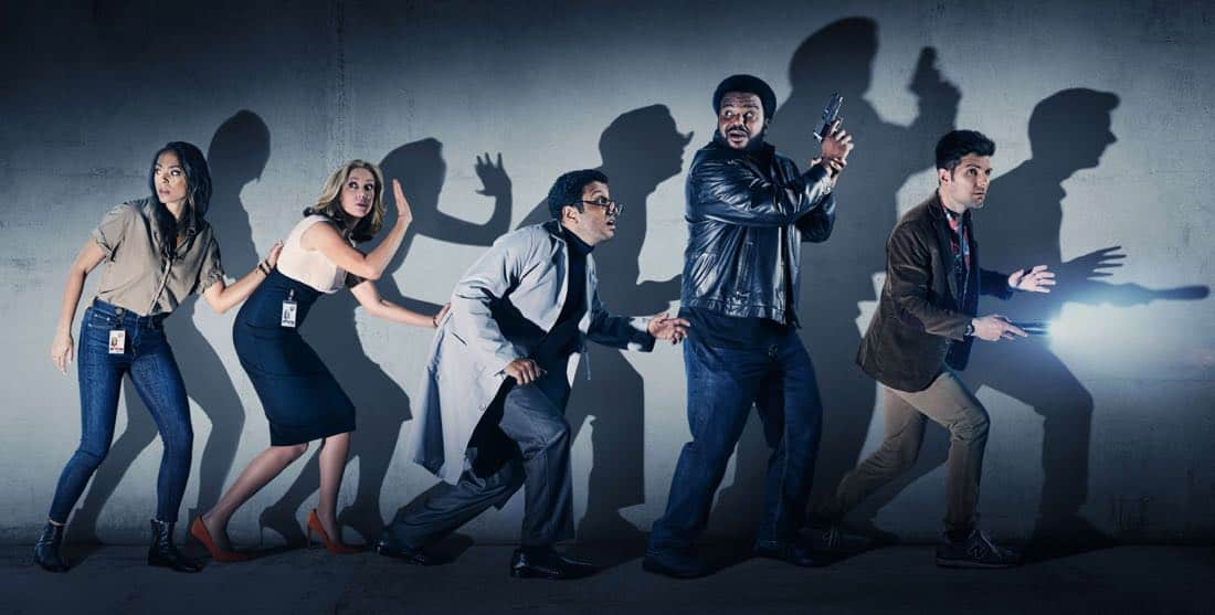 GHOSTED: Pictured L-R: Amber Stevens West, Ally Walker, Adeel Akhtar, Craig Robinson and Adam Scott on GHOSTED premiering Sunday, Oct. 1 (8:30-9:00 PM ET/PT) on FOX. ©2017 Fox Broadcasting Co. CR: FOX
