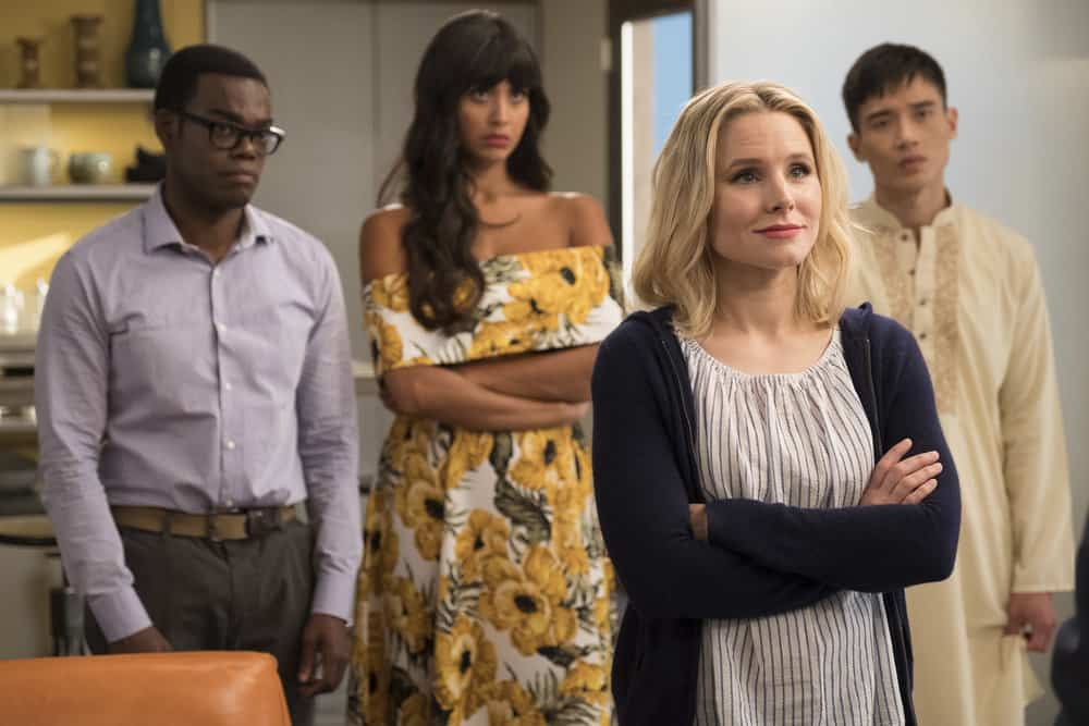 """THE GOOD PLACE -- """"Team Cockroach"""" Episode 204 -- Pictured: (l-r) William Jackson Harper as Chidi, Jameela Jamil as Tahani, Kristen Bell as Eleanor Shellstrop, Manny Jacinto as Jianyu -- (Photo by: Colleen Hayes/NBC)"""