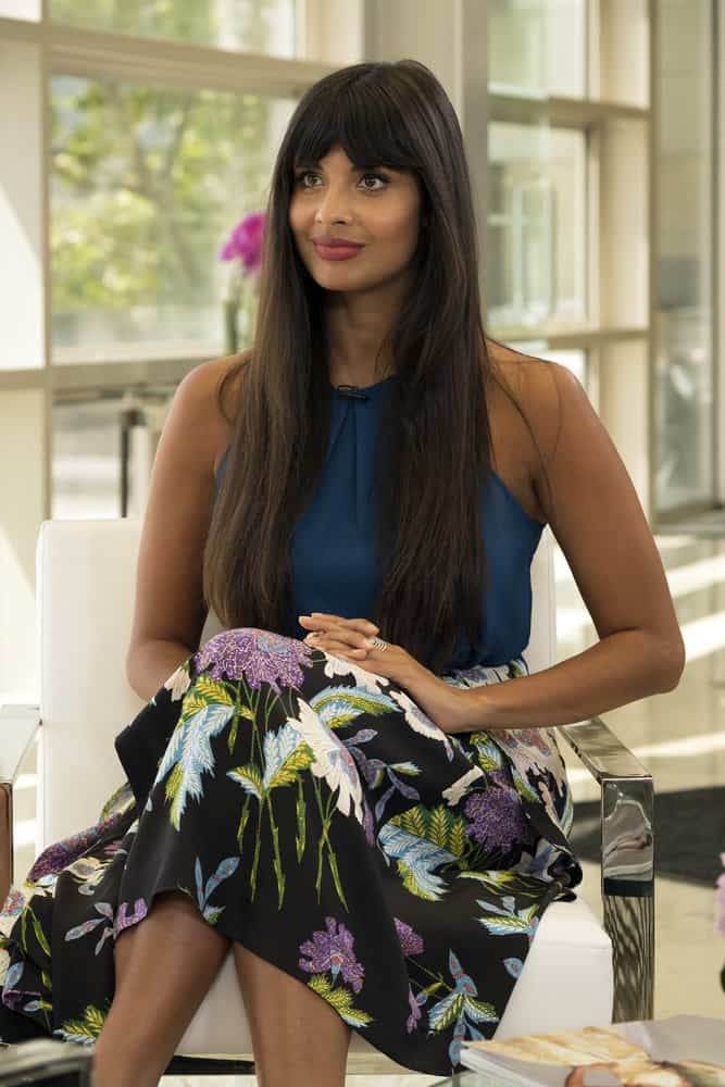 """THE GOOD PLACE -- """"Team Cockroach"""" Episode 204 -- Pictured: Jameela Jamil as Tahani -- (Photo by: Colleen Hayes/NBC)"""
