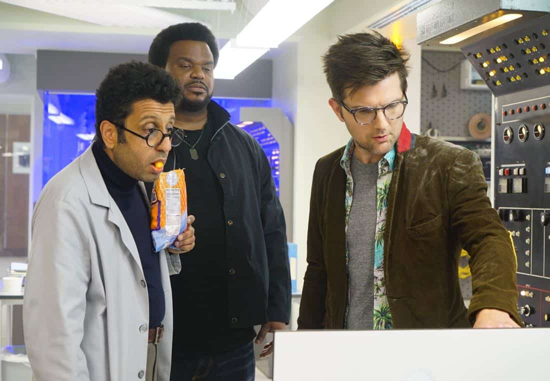 GHOSTED: Pictured L-R: Adeel Ahktar, Craig Robinson and Adam Scott in the pilot episode of GHOSTED premiering Sunday, Oct. 1 (8:30-9:00 PM ET/PT) on FOX. ©2017 Fox Broadcasting CO. CR: Kevin Estrada/FOX