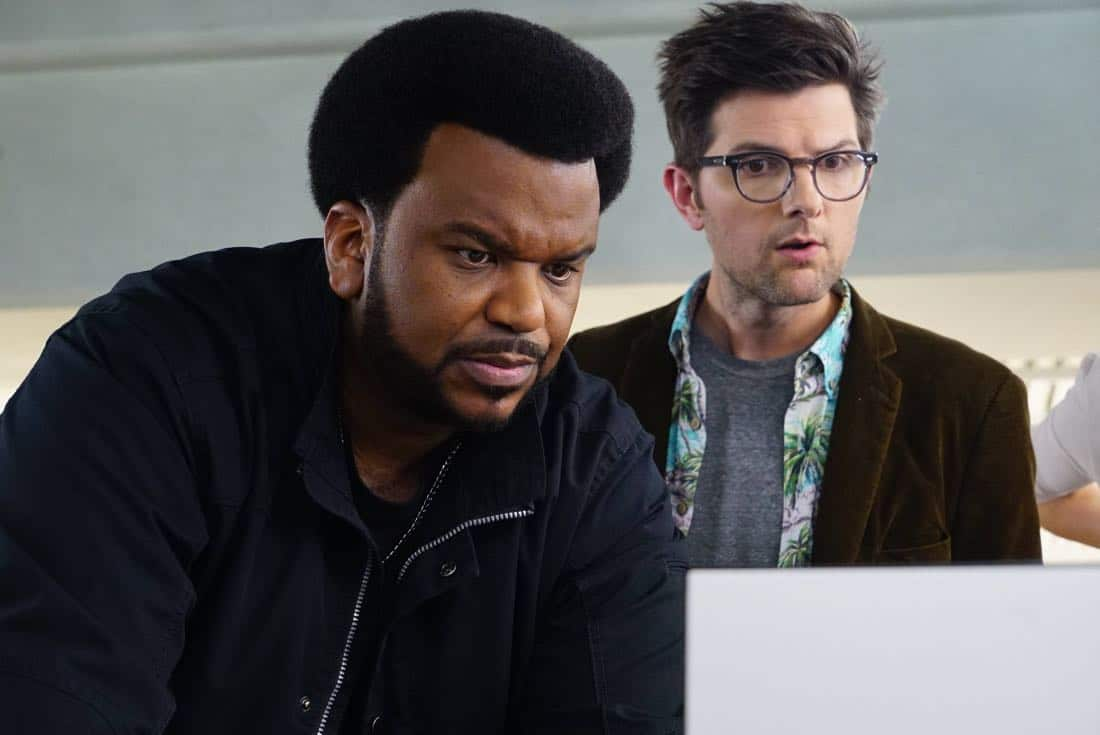 GHOSTED: Pictured L-R: Craig Robinson and Adam Scott in the pilot episode of GHOSTED premiering Sunday, Oct. 1 (8:30-9:00 PM ET/PT) on FOX. ©2017 Fox Broadcasting CO. CR: Kevin Estrada/FOX