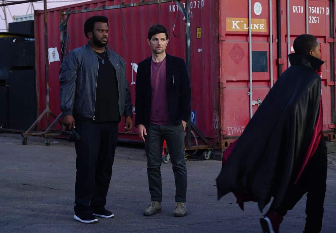 "GHOSTED: Pictured L-R: Craig Robinson and Adam Scott  in the ""Jermaine the Zombie"" episode of GHOSTED airing Sunday, Oct. 8 (8:30-9:00 PM ET/PT) on FOX. ©2017 Fox Broadcasting Co. CR: Kevin Estrada/FOX"