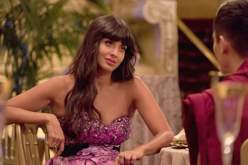 "THE GOOD PLACE -- ""Existential Crisis"" Episode 205 -- Pictured: Jameela Jamil as Tehani -- (Photo by: Colleen Hayes/NBC)"