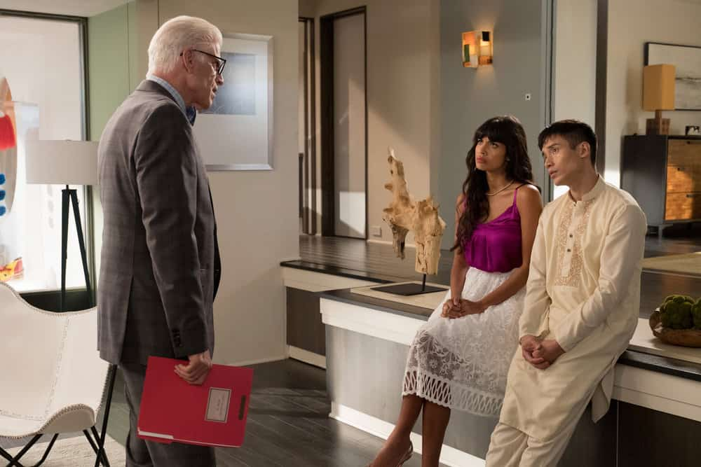 "THE GOOD PLACE -- ""Existential Crisis"" Episode 205 -- Pictured: (l-r) Ted Danson as Michael, Jameela Jamil as Tehani, Manny Jacinto as Jianyu -- (Photo by: Colleen Hayes/NBC)"