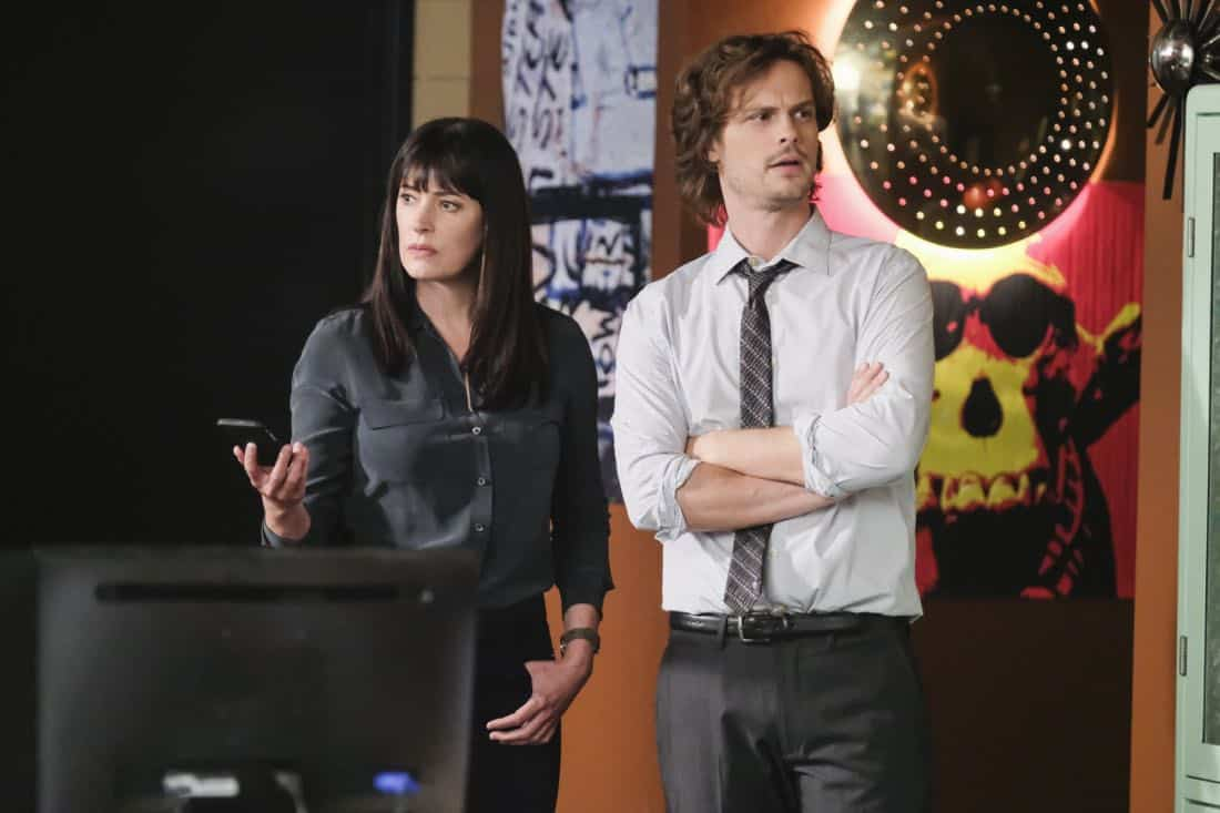 """Killer App"" -- The BAU investigates a workplace shooting committed by a state-of-the-art drone in Silicon Valley, on CRIMINAL MINDS, Wednesday, Oct. 11 (10:00-11:00 PM, ET/PT) on the CBS Television Network.  Pictured: Paget Brewster (Emily Prentiss), Matthew Gray Gubler (Dr. Reid)   Photo: Darren Michaels/CBS ©2017 CBS Broadcasting, Inc. All Rights Reserved"