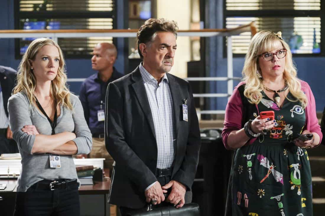 """Killer App"" -- The BAU investigates a workplace shooting committed by a state-of-the-art drone in Silicon Valley, on CRIMINAL MINDS, Wednesday, Oct. 11 (10:00-11:00 PM, ET/PT) on the CBS Television Network.  Pictured: A.J. Cook (Jennifer Jareau), Joe Mantegna (David Rossi), Kirsten Vangsness (Penelope Garcia)   Photo: Darren Michaels/CBS ©2017 CBS Broadcasting, Inc. All Rights Reserved"