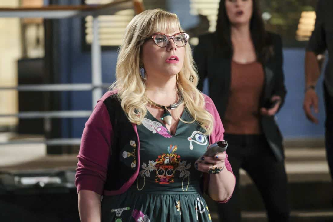 """Killer App"" -- The BAU investigates a workplace shooting committed by a state-of-the-art drone in Silicon Valley, on CRIMINAL MINDS, Wednesday, Oct. 11 (10:00-11:00 PM, ET/PT) on the CBS Television Network.  Pictured: Kirsten Vangsness (Penelope Garcia)   Photo: Darren Michaels/CBS ©2017 CBS Broadcasting, Inc. All Rights Reserved"
