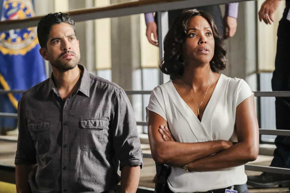 """Killer App"" -- The BAU investigates a workplace shooting committed by a state-of-the-art drone in Silicon Valley, on CRIMINAL MINDS, Wednesday, Oct. 11 (10:00-11:00 PM, ET/PT) on the CBS Television Network.  Pictured: Adam Rodriguez (Luke Alvez), Aisha Tyler (Dr. Tara Lewis)   Photo: Darren Michaels/CBS ©2017 CBS Broadcasting, Inc. All Rights Reserved"