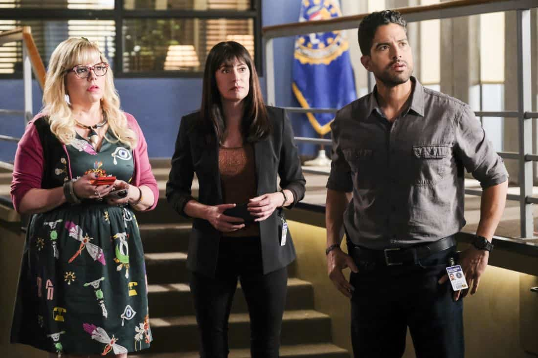 """Killer App"" -- The BAU investigates a workplace shooting committed by a state-of-the-art drone in Silicon Valley, on CRIMINAL MINDS, Wednesday, Oct. 11 (10:00-11:00 PM, ET/PT) on the CBS Television Network.  Pictured: Kirsten Vangsness (Penelope Garcia), Paget Brewster (Emily Prentiss), Adam Rodriguez (Luke Alvez)   Photo: Darren Michaels/CBS ©2017 CBS Broadcasting, Inc. All Rights Reserved"