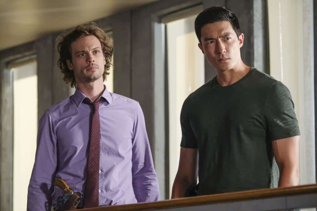 """Killer App"" -- The BAU investigates a workplace shooting committed by a state-of-the-art drone in Silicon Valley, on CRIMINAL MINDS, Wednesday, Oct. 11 (10:00-11:00 PM, ET/PT) on the CBS Television Network.  Pictured: Matthew Gray Gubler (Dr. Reid), Daniel Henney (Matt Simmons)   Photo: Darren Michaels/CBS ©2017 CBS Broadcasting, Inc. All Rights Reserved"