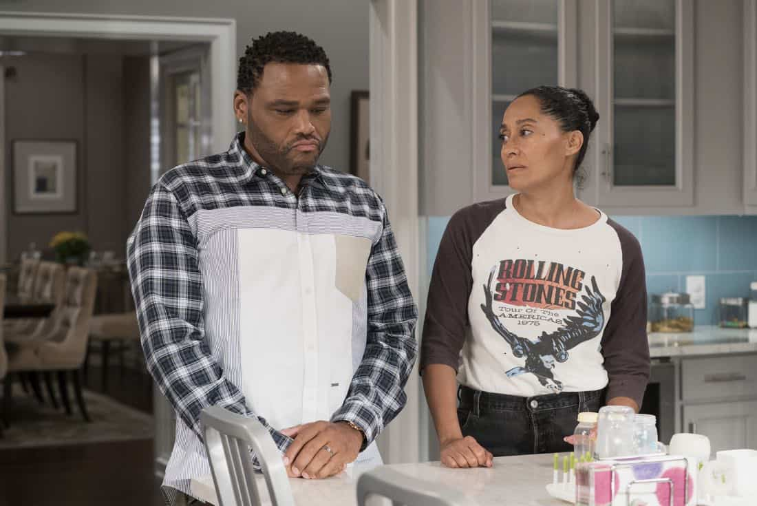 "BLACK-ISH - ""Mother Nature"" - Bow is feeling overwhelmed after the birth of DeVante and learns she is suffering from postpartum depression. Dre urges her to get help and stands by her side while she works through it. Meanwhile, the kids babyproof the house in an effort to help their parents out, on ""black-ish,"" TUESDAY, OCTOBER 10 (9:00-9:30 p.m. EDT), on The ABC Television Network. (ABC/Eric McCandless) ANTHONY ANDERSON, TRACEE ELLIS ROSS"