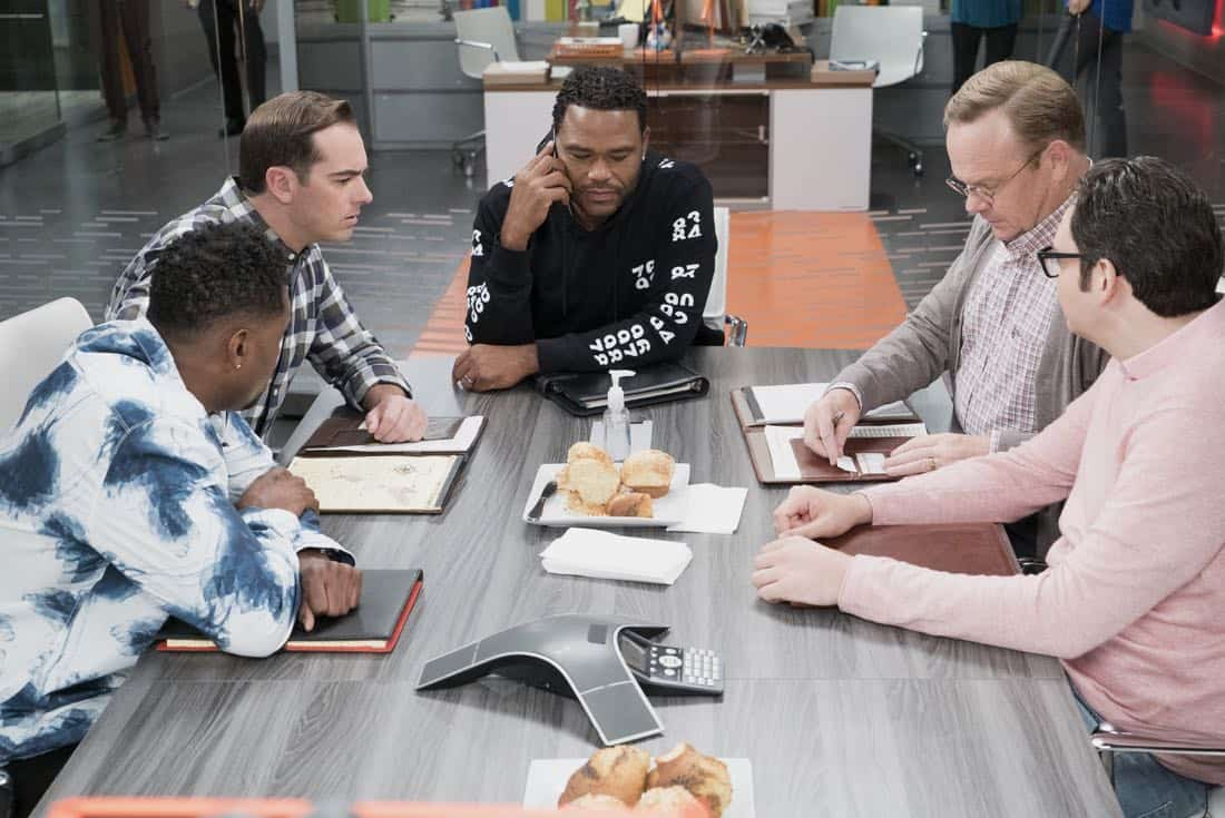 "BLACK-ISH - ""Mother Nature"" - Bow is feeling overwhelmed after the birth of DeVante and learns she is suffering from postpartum depression. Dre urges her to get help and stands by her side while she works through it. Meanwhile, the kids babyproof the house in an effort to help their parents out, on ""black-ish,"" TUESDAY, OCTOBER 10 (9:00-9:30 p.m. EDT), on The ABC Television Network. (ABC/Eric McCandless) DEON COLE, JEFF MEACHAM, ANTHONY ANDERSON, PETER MACKENZIE, NELSON FRANKLIN"