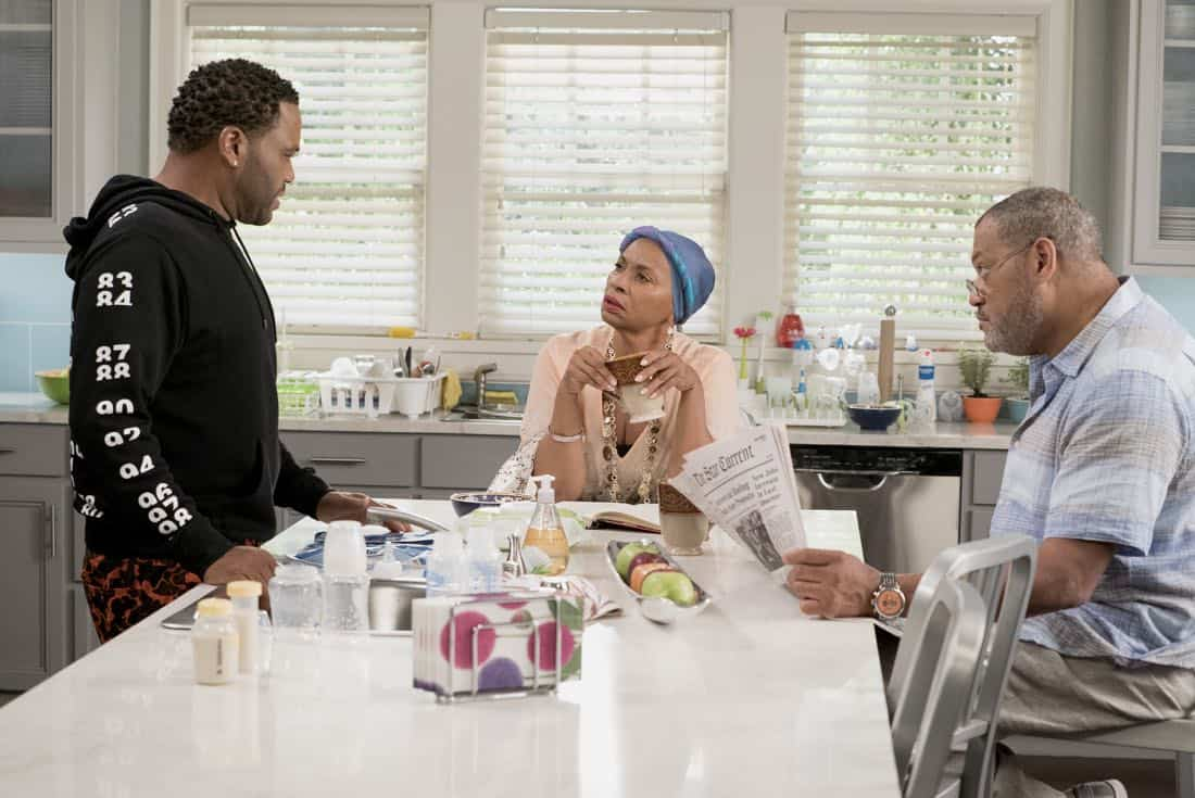 "BLACK-ISH - ""Mother Nature"" - Bow is feeling overwhelmed after the birth of DeVante and learns she is suffering from postpartum depression. Dre urges her to get help and stands by her side while she works through it. Meanwhile, the kids babyproof the house in an effort to help their parents out, on ""black-ish,"" TUESDAY, OCTOBER 10 (9:00-9:30 p.m. EDT), on The ABC Television Network. (ABC/Eric McCandless) ANTHONY ANDERSON, JENIFER LEWIS, LAURENCE FISHBURNE"