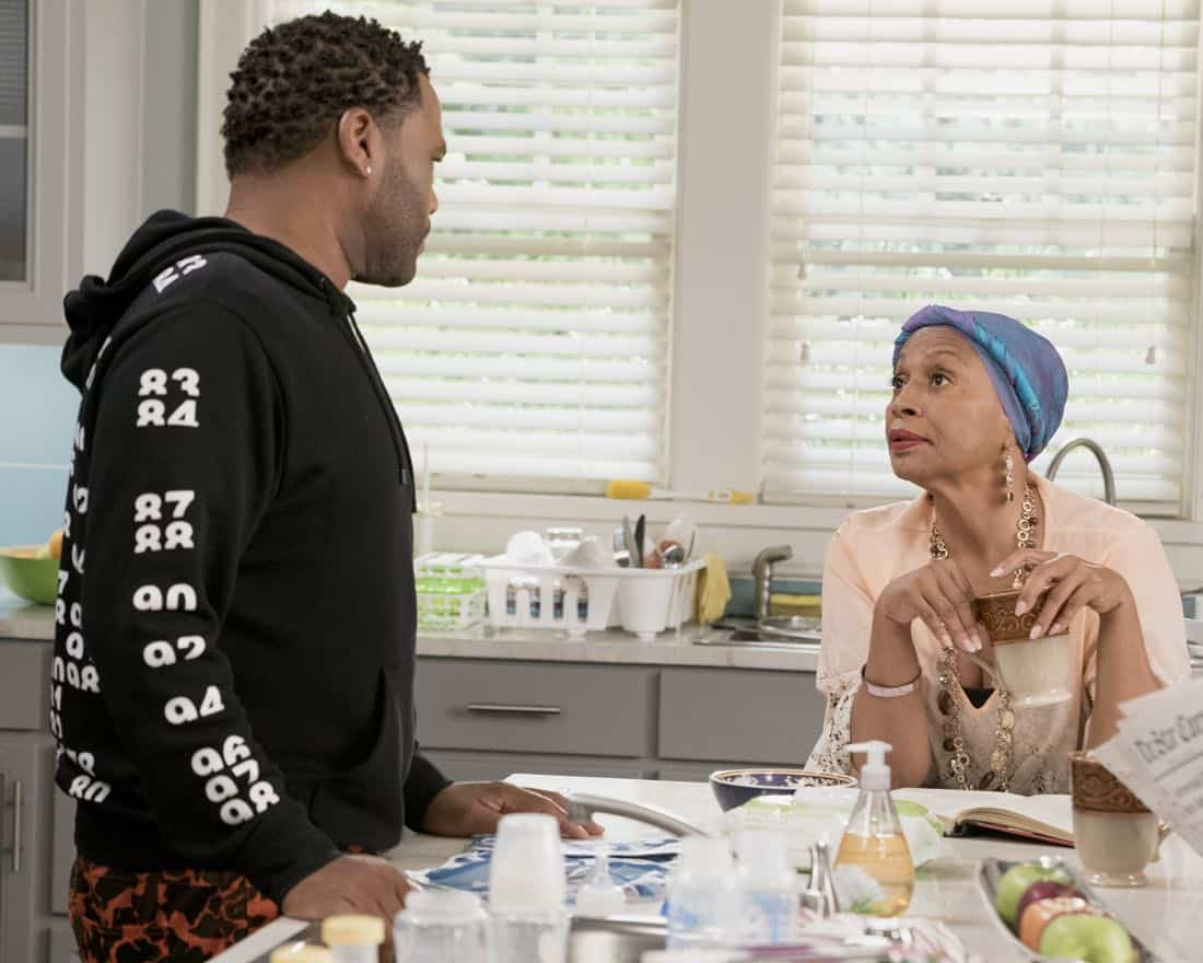 "BLACK-ISH - ""Mother Nature"" - Bow is feeling overwhelmed after the birth of DeVante and learns she is suffering from postpartum depression. Dre urges her to get help and stands by her side while she works through it. Meanwhile, the kids babyproof the house in an effort to help their parents out, on ""black-ish,"" TUESDAY, OCTOBER 10 (9:00-9:30 p.m. EDT), on The ABC Television Network. (ABC/Eric McCandless) ANTHONY ANDERSON, JENIFER LEWIS"