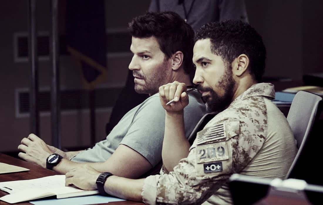"""Boarding Party"" -- Jason and the SEAL team must rescue a group of researchers being held hostage on a ship in the South China Sea. Also, Clay is ranked in the ""bottom five"" of his class, jeopardizing his future as a SEAL, on SEAL TEAM, Wednesday, Oct. 11 (9:00-10:00 PM, ET/PT) on the CBS Television Network. Pictured L to R: David Boreanaz as Jason Hayes and Neil Brown Jr. as Ray Perry. Photo: Monty Brinton/CBS ©2017 CBS Broadcasting, Inc. All Rights Reserved"
