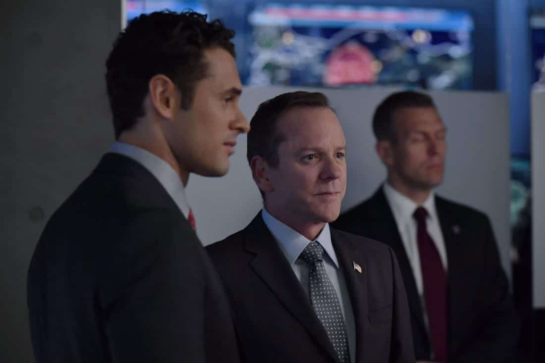 "DESIGNATED SURVIVOR- ""Outbreak"" – President Kirkman is faced with a viral pandemic that threatens to kill countless Americans while FBI Agent Hannah Wells and M16 Agent Damian Rennett discover evidence that could change the lives of members of the first family forever, on ""Designated Survivor,"" airing WEDNESDAY, OCTOBER 11 (10:00-11:00 p.m. EDT). (ABC/Ben Mark Holzberg) ADAN CANTO, KIEFER SUTHERLAND"