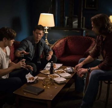 """Supernatural -- """"The Rising Son"""" -- Image Number: SN1302b_0117.jpg -- Pictured (L-R): Alexander Calvert as Jack, Jensen Ackles as Dean and Jared Padalecki as Sam -- Photo: Jack Rowand/The CW -- © 2017 The CW Network, LLC All Rights Reserved."""