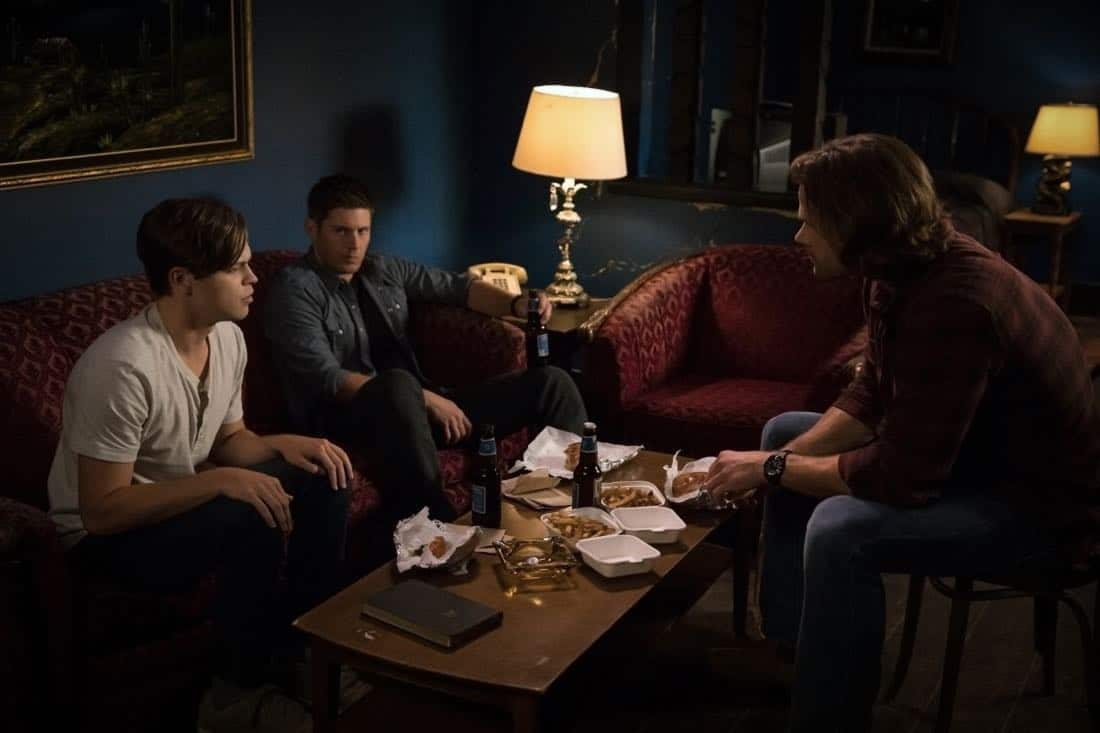 "Supernatural -- ""The Rising Son""  -- Image Number: SN1302b_0141.jpg -- Pictured (L-R): Alexander Calvert as Jack, Jensen Ackles as Dean and Jared Padalecki as Sam -- Photo: Jack Rowand/The CW -- © 2017 The CW Network, LLC All Rights Reserved."
