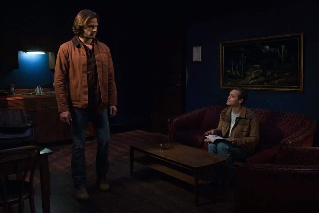"Supernatural -- ""The Rising Son""  -- Image Number: SN1302b_0017.jpg -- Pictured (L-R): Jared Padalecki as Sam and Alexander Calvert as Jack -- Photo: Jack Rowand/The CW -- © 2017 The CW Network, LLC All Rights Reserved."