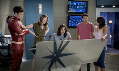 "The Flash -- ""Mixed Signals"" -- Image Number: FLA402a_0511b.jpg -- Pictured (L-R): Grant Gustin as Barry Allen, Danielle Panabaker as Caitlin Snow, Carlos Valdes as Cisco Ramon, Keiynan Lonsdale as Wally West and Candice Patton as Iris West -- Photo: Jack Rowand/The CW -- © 2017 The CW Network, LLC. All rights reserved."