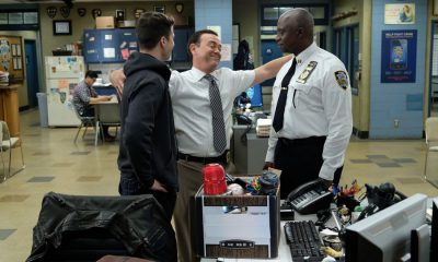 "BROOKLYN NINE-NINE: L-R: Andy Samberg, Joe Lo Truglio and Andre Braugher in the ""Kicks"" episode of BROOKLYN NINE-NINE airing Tuesday, Oct. 10 (9:30-10:00 PM ET/PT) on FOX. CR: Ray Mickshaw / FOX"