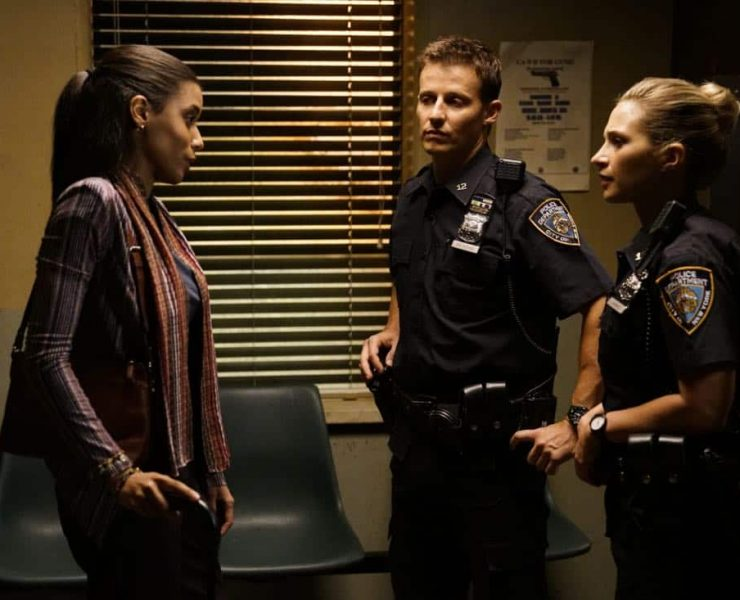 """""""Ghosts of the Past"""" -- Frank receives an order from the mayor to attend a parade honoring a man who served time for conspiring in an attack against the police. Also, Danny investigates the return of a teen Selena Moore (Caroline Pluta), who suspiciously disappeared 13 years ago, and Jamie and Eddie try to help a young woman they believe is being exploited by Congressman Thomas (Richard Walters), on BLUE BLOODS, Friday, Oct. 6 (10:00-11:00 PM, ET/PT) on the CBS Television Network. Pictured: Massiel Mordan, Will Estes, Vanessa Ray. Photo: John Paul Filol/CBS ©2017 CBS Broadcasting, Inc. All Rights Reserved"""
