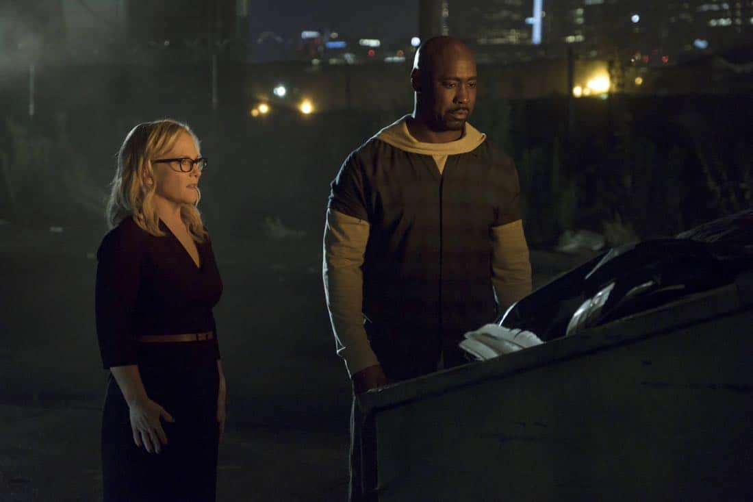 "LUCIFER: L-R: Rachael Harris and DB Woodside in the ""The One With The Baby Carrot"" episode of LUCIFER airing Monday, Oct. 9 (8:00-9:00 PM ET/PT) on FOX. Cr: John P Flexor/FOX"