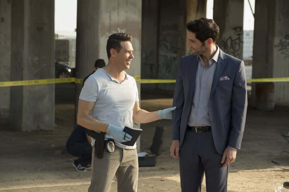 "LUCIFER: L-R: Kevin Alejandro and Tom Ellis in the ""The One With The Baby Carrot"" episode of LUCIFER airing Monday, Oct. 9 (8:00-9:00 PM ET/PT) on FOX. Cr: John P Flexor/FOX"