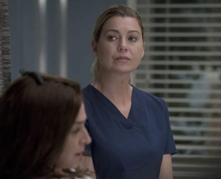 """GREY'S ANATOMY - """"Ain't That a Kick in the Head"""" - Amelia confronts a difficult situation, while Meredith deals with the fallout from her conversation with Nathan. Maggie finds herself at an awkward family dinner, Jackson receives big news, and Richard and Bailey search for the stars of tomorrow, on """"Grey's Anatomy,"""" THURSDAY, OCTOBER 12 (8:00-9:00 p.m. EDT), on The ABC Television Network. (ABC/Richard Cartwright) ELLEN POMPEO"""