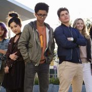 "MARVEL'S RUNAWAYS - ""Pilot"" - Episode 101 - Every teenager thinks their parents are evil. What if you found out they actually were? MarvelÕs Runaways is the story of six diverse teenagers who can barely stand each other but who must unite against a common foe Ð their parents. The 10-episode series premieres Tuesday, November 21st. The series stars Rhenzy Feliz, Lyrica Okano, Virginia Gardner, Ariela Barer, Gregg Sulkin, Allegra Acosta, Annie Wersching, Ryan Sands, Angel Parker, Ever Carradine, James Marsters, Kevin Weisman, Brigid Brannah, James Yaegashi, Brittany Ishibashi, and Kip Pardue. From left: Gert Yorkes (Ariela Barer), Nico Minoru (Lyrica Okano), Alex Wilder (Rhenzy Feliz), Chase Stein (Gregg Sulkin), Karolina Dean (Virginia Gardner) and Molly Hernandez (Allegra Acosta), shown. (Photo by: Paul Sarkis/Hulu)"