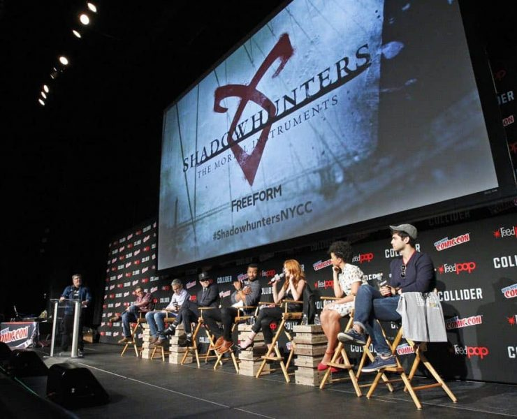 "NY COMIC-CON 2017 -SHADOWHUNTERS - Freeform's genre programming was out in full force at this year's New York Comic Con on Saturday, October 7th with executive producers and cast from the hit series ""Shadowhunters,"" ""Beyond,"" and new original series ""Siren."" (Freeform/Lou Rocco) JIM HALTERMAN (MODERATOR), DARREN SWIMMER (EXECUTIVE PRODUCER), TODD SLAVKIN (EXECUTIVE PRODUCER), MATT HASTINGS, EXECUTIVE PRODUCER, ISAIAH MUSTAFA, KATHERINE MCNAMARA, ALISHA WAINWRIGHT, MATTHEW DADDARIO"