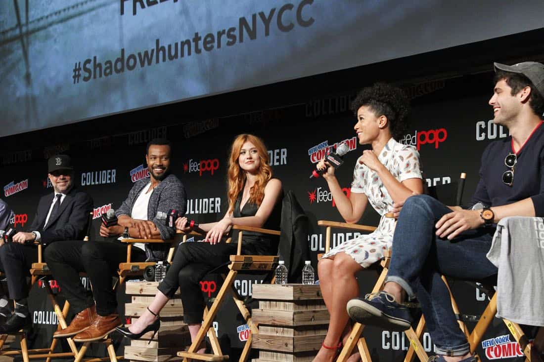"NY COMIC-CON 2017 -SHADOWHUNTERS - Freeform's genre programming was out in full force at this year's New York Comic Con on Saturday, October 7th with executive producers and cast from the hit series ""Shadowhunters,"" ""Beyond,"" and new original series ""Siren."" (Freeform/Lou Rocco) MATT HASTINGS (EXECUTIVE PRODUCER), ISAIAH MUSTAFA, KATHERINE MCNAMARA, ALISHA WAINWRIGHT, MATTHEW DADDARIO"