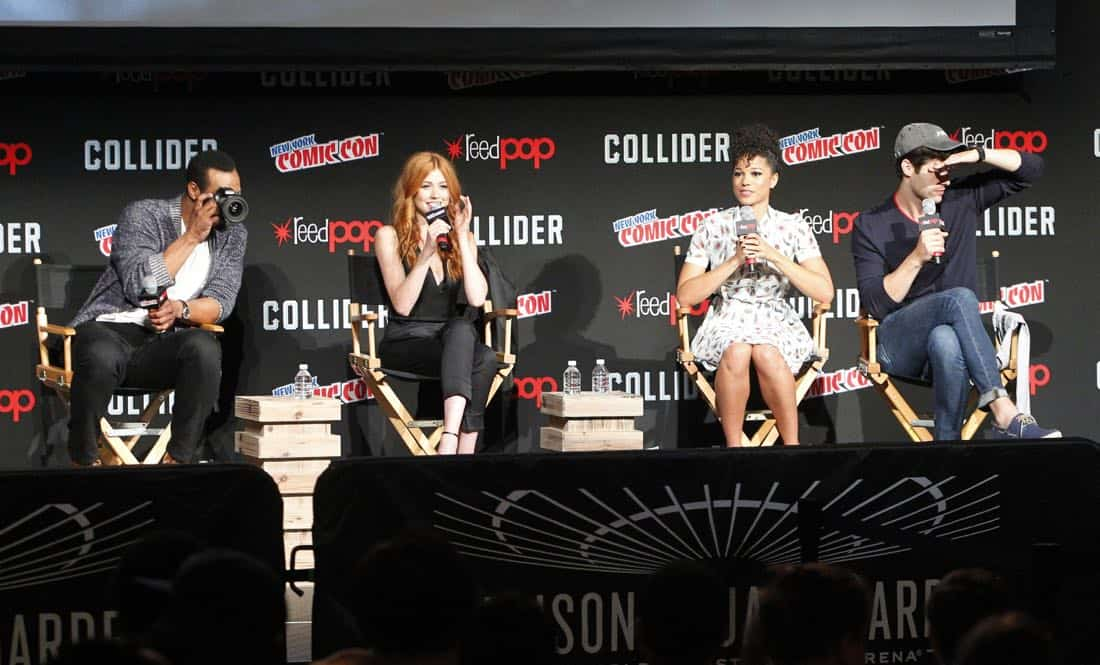 "NY COMIC-CON 2017 -SHADOWHUNTERS - Freeform's genre programming was out in full force at this year's New York Comic Con on Saturday, October 7th with executive producers and cast from the hit series ""Shadowhunters,"" ""Beyond,"" and new original series ""Siren."" (Freeform/Lou Rocco) ISAIAH MUSTAFA, KATHERINE MCNAMARA, ALISHA WAINWRIGHT, MATTHEW DADDARIO"