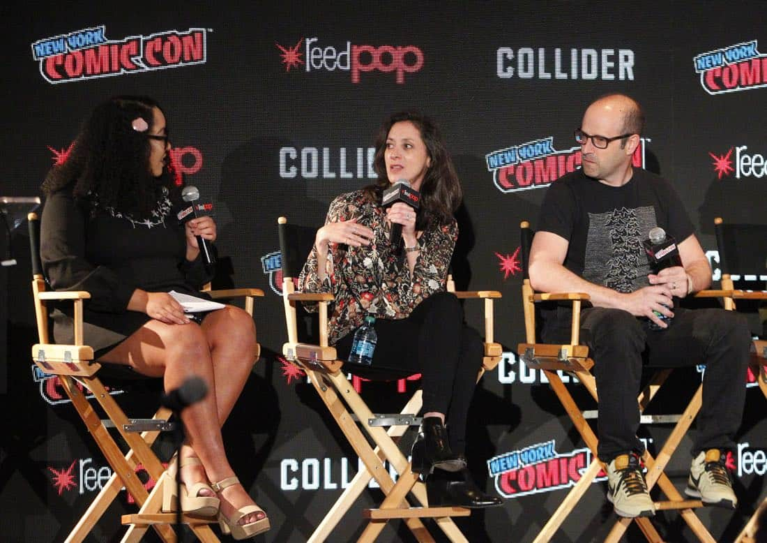 """NY COMIC-CON 2017 - SIREN - Freeform's genre programming was out in full force at this year's New York Comic Con on Saturday, October 7th with executive producers and cast from the hit series """"Shadowhunters,"""" """"Beyond,"""" and new original series """"Siren."""" (Freeform/Lou Rocco) ARIANA ROMERO, EMILY WHITESELL (EXECUTIVE PRODUCER), ERIC WALD (EXECUTIVE PRODUCER)"""