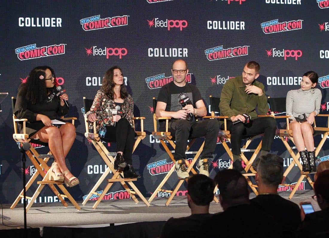 """NY COMIC-CON 2017 - SIREN - Freeform's genre programming was out in full force at this year's New York Comic Con on Saturday, October 7th with executive producers and cast from the hit series """"Shadowhunters,"""" """"Beyond,"""" and new original series """"Siren."""" (Freeform/Lou Rocco) ARIANA ROMERO, EMILY WHITESELL (EXECUTIVE PRODUCER), ERIC WALD (EXECUTIVE PRODUCER), ALEX ROE, ELINE POWELL"""