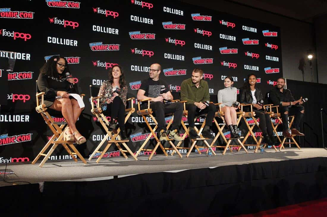 """NY COMIC-CON 2017 - SIREN - Freeform's genre programming was out in full force at this year's New York Comic Con on Saturday, October 7th with executive producers and cast from the hit series """"Shadowhunters,"""" """"Beyond,"""" and new original series """"Siren."""" (Freeform/Lou Rocco) ARIANA ROMERO, EMILY WHITESELL (EXECUTIVE PRODUCER), ERIC WALD (EXECUTIVE PRODUCER), ALEX ROE, ELINE POWELL, FOLA EVANS-AKINGBOLA, IAN VERDUN"""