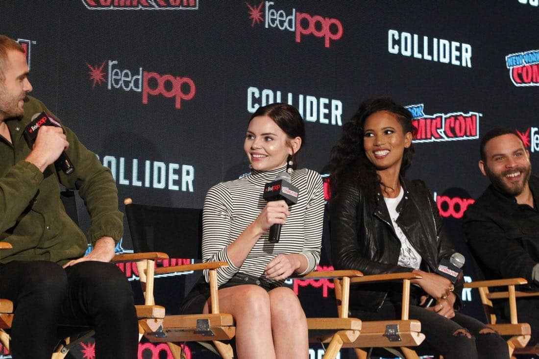"""NY COMIC-CON 2017 - SIREN - Freeform's genre programming was out in full force at this year's New York Comic Con on Saturday, October 7th with executive producers and cast from the hit series """"Shadowhunters,"""" """"Beyond,"""" and new original series """"Siren."""" (Freeform/Lou Rocco) ALEX ROE, ELINE POWELL, FOLA EVANS-AKINGBOLA, IAN VERDUN"""