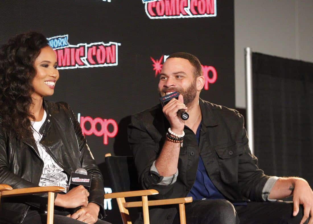 """NY COMIC-CON 2017 - SIREN - Freeform's genre programming was out in full force at this year's New York Comic Con on Saturday, October 7th with executive producers and cast from the hit series """"Shadowhunters,"""" """"Beyond,"""" and new original series """"Siren."""" (Freeform/Lou Rocco) FOLA EVANS-AKINGBOLA, IAN VERDUN"""