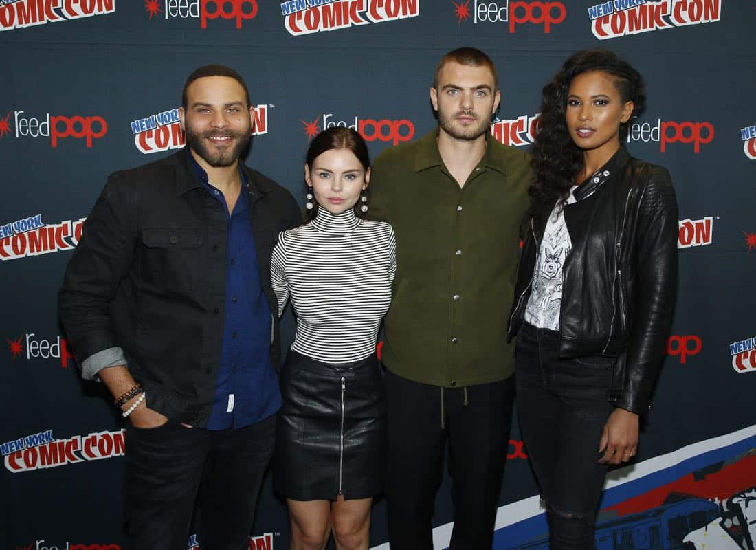 """NY COMIC-CON 2017 - SIREN - Freeform's genre programming was out in full force at this year's New York Comic Con on Saturday, October 7th with executive producers and cast from the hit series """"Shadowhunters,"""" """"Beyond,"""" and new original series """"Siren.""""  (Freeform/Lou Rocco) IAN VERDUN, ELINE POWELL, ALEX ROE, FOLA EVANS-AKINGBOLA"""